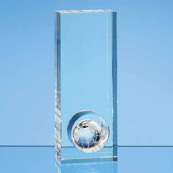 SY5094P -   20cm Optical Crystal Globe in the Hole Award - (Fully Engraved)
