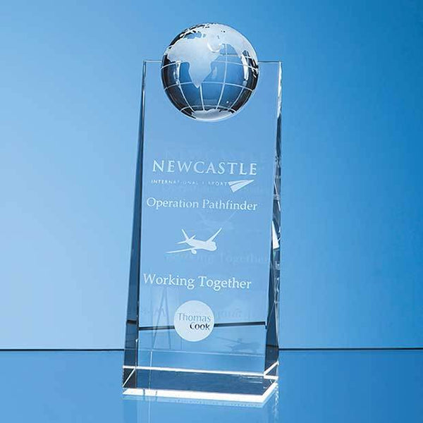 SY5096P -   18cm Optical Crystal Globe Rectangle Award - (Fully Engraved)