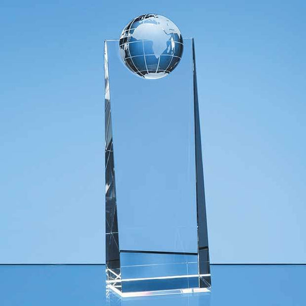 SY5097P -   21cm Optical Crystal Globe Rectangle Award - (Fully Engraved)