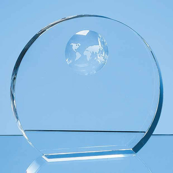 SY5101P -   17cm Optical Crystal Circle with Recessed Globe - (Fully Engraved)