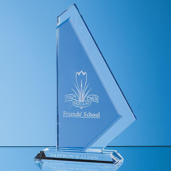 SY7014P -   25cm Clear & Cobalt Blue Optical Crystal Glacier Award - (Fully Engraved)