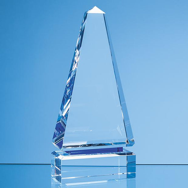 SY7015P -   20cm Clear Optical Crystal Cenotaph Award with a Single Cobalt Blue Line - (Fully Engraved)