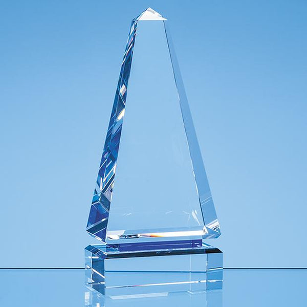SY7016P -   23cm Clear Optical Crystal Cenotaph Award with a Single Cobalt Blue Line - (Fully Engraved)