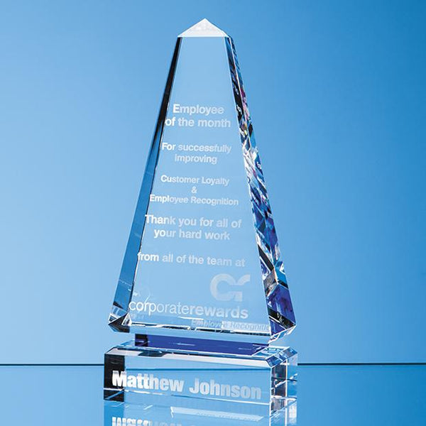 SY7017P -   26cm Clear Optical Crystal Cenotaph Award with a Single Cobalt Blue Line - (Fully Engraved)