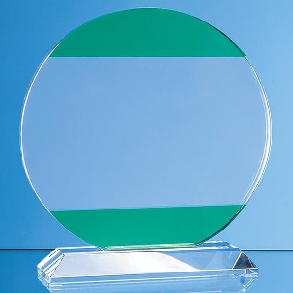SY7018P -   14cm Clear & Light Emerald Green Optical Crystal Circle Award - (Fully Engraved)