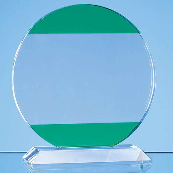 SY7019P -   16.5cm Clear & Light Emerald Green Optical Crystal Circle Award - (Fully Engraved)