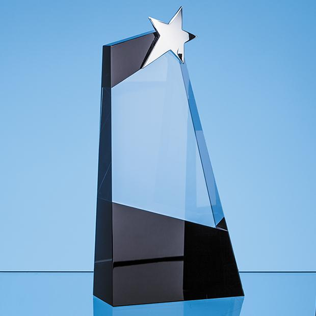 28cm Clear & Onyx Black Optical Crystal Slope Award with Silver Star