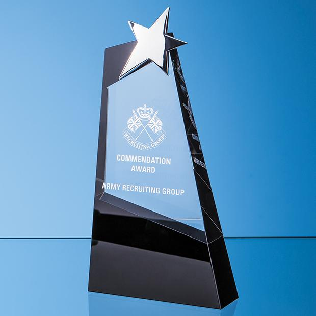 31cm Clear & Onyx Black Optical Crystal Slope Award with Silver Star
