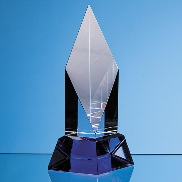 19cm Clear Optical Crystal Diamond Mounted on a Cobalt Blue Base