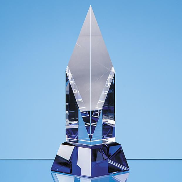 21.5cm Clear Optical Crystal Diamond Mounted on a Cobalt Blue Base
