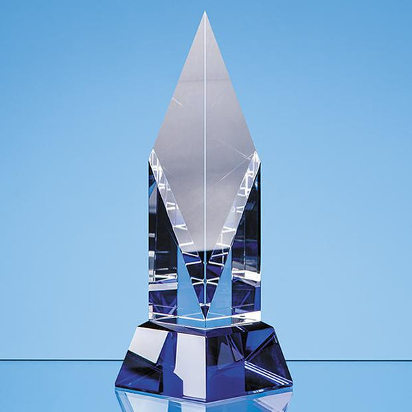 SY7025P -   21.5cm Clear Optical Crystal Diamond Mounted on a Cobalt Blue Base - (Fully Engraved)