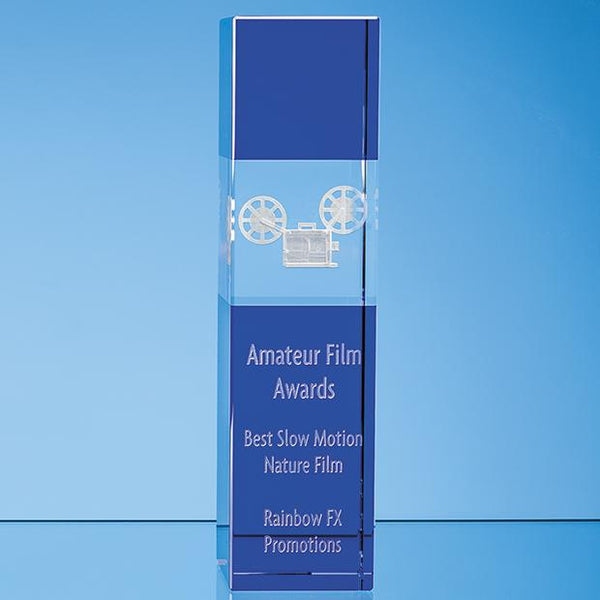 SY7028P -   26cm Clear & Cobalt Blue Optical Crystal Square Column Award - (Fully Engraved)