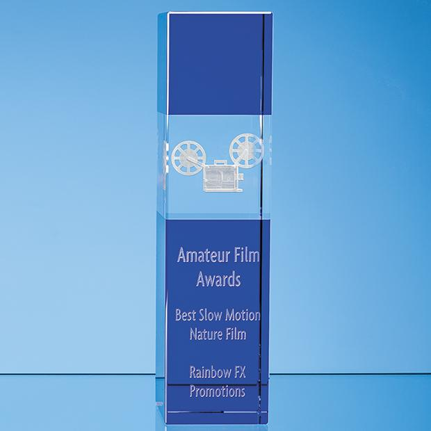 28cm Clear & Cobalt Blue Optical Crystal Square Column Award