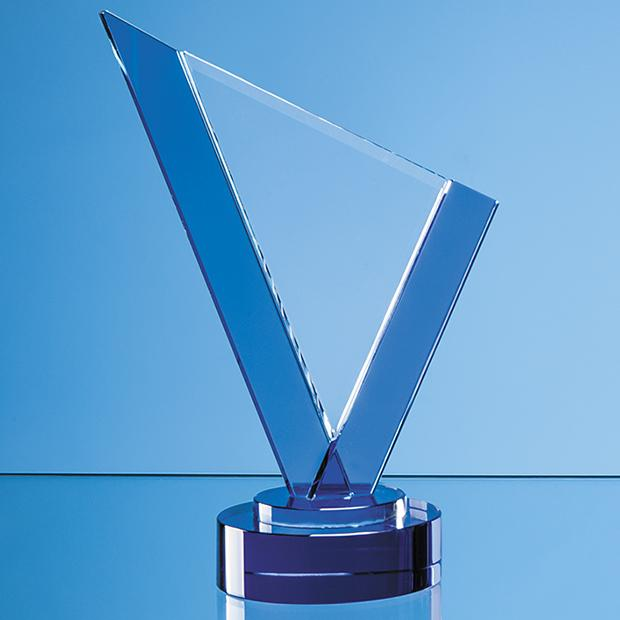 20cm Clear & Cobalt Blue Optical Crystal Peak Award on a Round Blue Base
