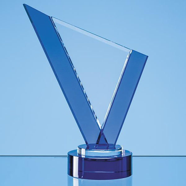 SY7049P -   23cm Clear & Cobalt Blue Optical Crystal Peak Award on a Round Blue Base - (Fully Engraved)