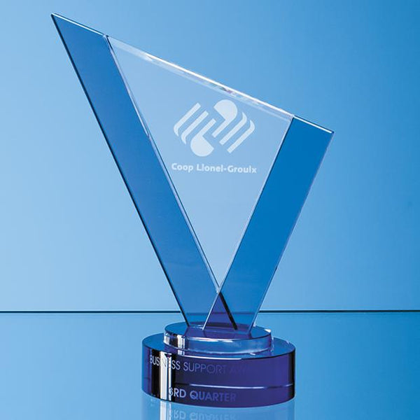 SY7050P -   25cm Clear & Cobalt Blue Optical Crystal Peak Award on a Round Blue Base - (Fully Engraved)