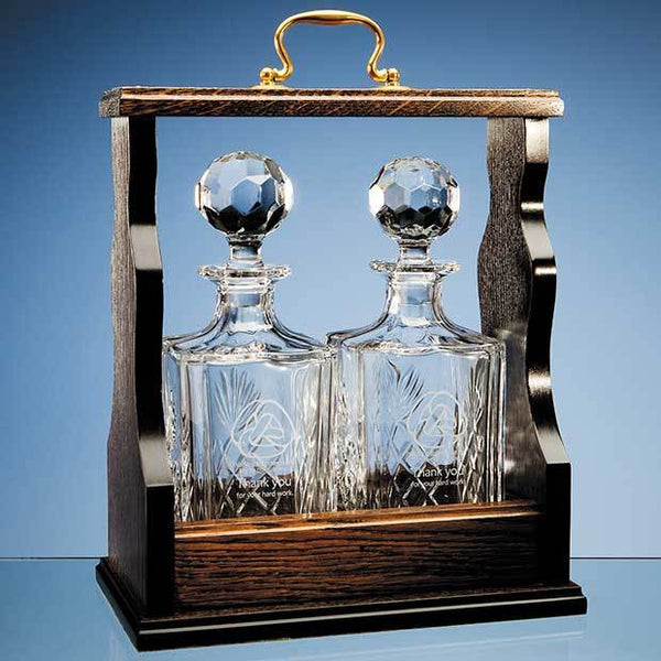 T45P -   Square Spirit Decanter Double Tantalus - (Fully Engraved)