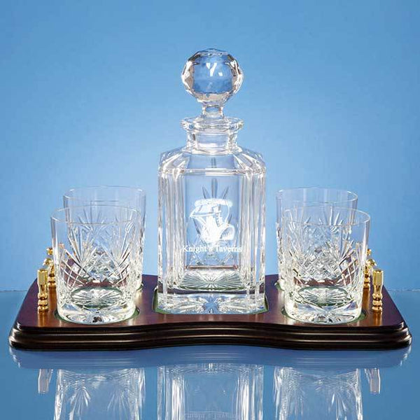 T47P -   5pc Whisky Set Wood Base - (Fully Engraved)