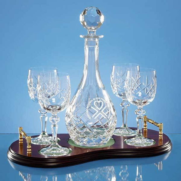 T48P -   5pc Wine Set Wood Base - (Fully Engraved)