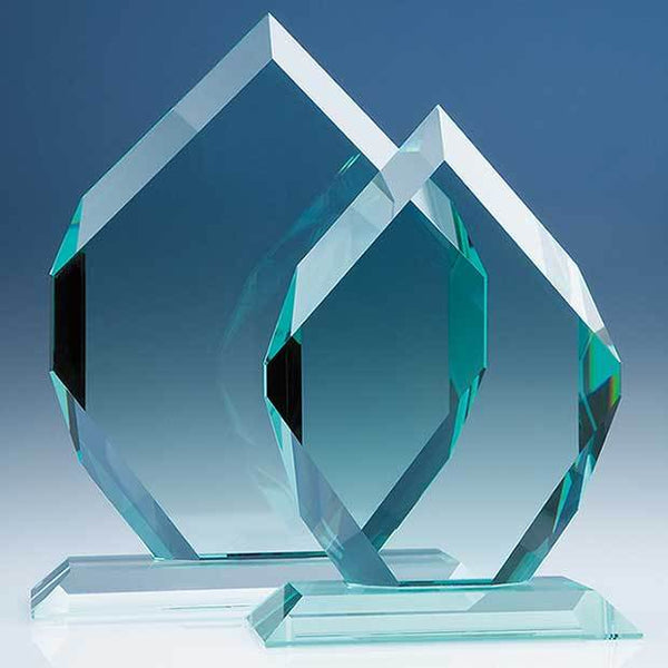 T5005P -   20.5cm x 15.5cm x 19mm Jade Glass Royal Diamond Award - (Fully Engraved)