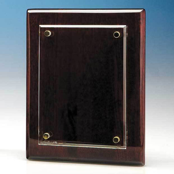 T6700P -   18cm x 12.5cm Clear Rectangle mounted on a Rosewood Plaque - (Fully Engraved)