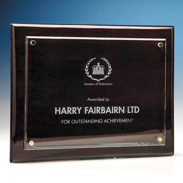 T6706P -   21.5cm x 28cm Clear Rectangle mounted on a Rosewood Plaque - (Fully Engraved)