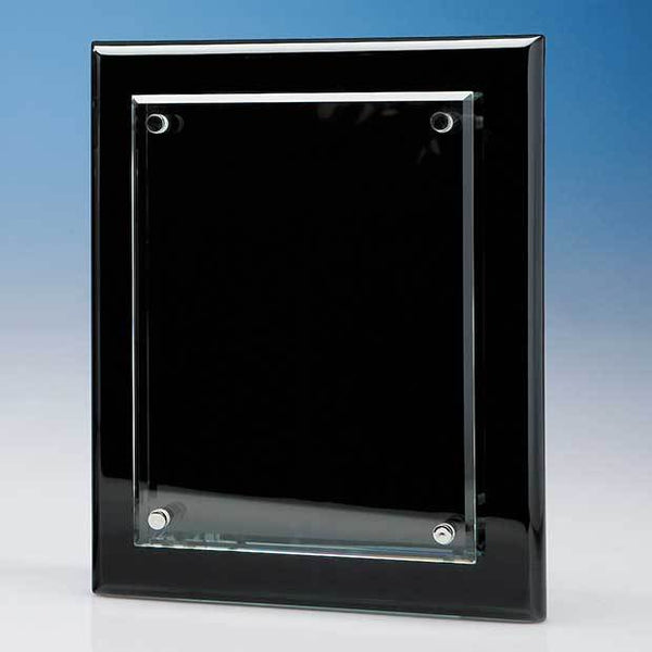T6713P -   20.5cm x 15.5cm Clear Rectangle mounted on a Black Wood Plaque - (Fully Engraved)
