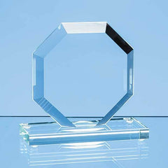 10cm x 10cm x 12mm Jade Glass Bevelled Edge Octagon Award