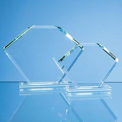 15cm x 20.5cm x 12mm Jade Glass Bevelled Edge Clipped Square Award