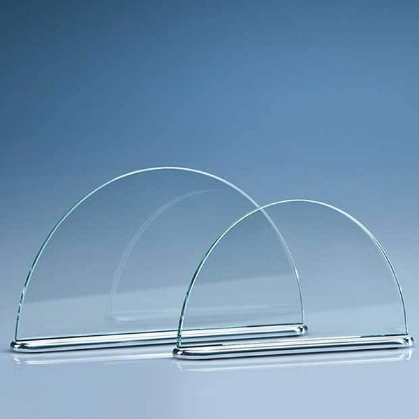 TZ3717P -   19.5cm x 11cm x 7mm Clear Glass Half Moon on an Aluminium Base - (Fully Engraved)