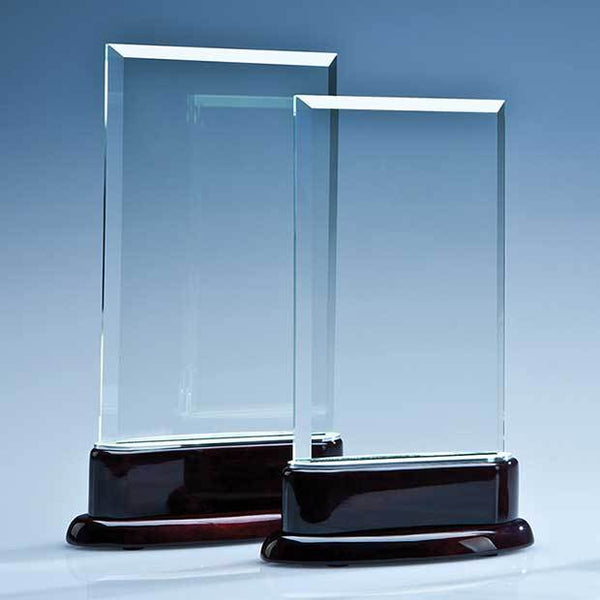 TZ5025P -   18.5cm x 11.5cm x 10mm Crystal Rectangle on a Rosewood Base - (Fully Engraved)