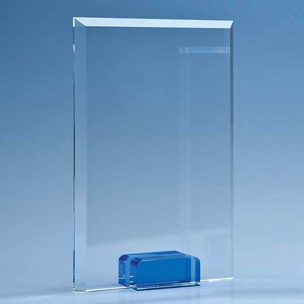 TZ5033P -   16.5cm Optical Crystal Rectangle with a Cobalt Blue Base - (Fully Engraved)