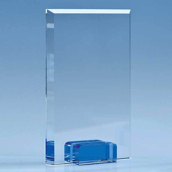 TZ5035P -   18.5cm Optical Crystal Rectangle with a Cobalt Blue Base - (Fully Engraved)