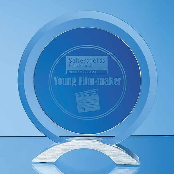 TZ5193P -   17cm x 15mm Clear & Smoked Glass Circles Mounted on an Aluminium Base - (Fully Engraved)