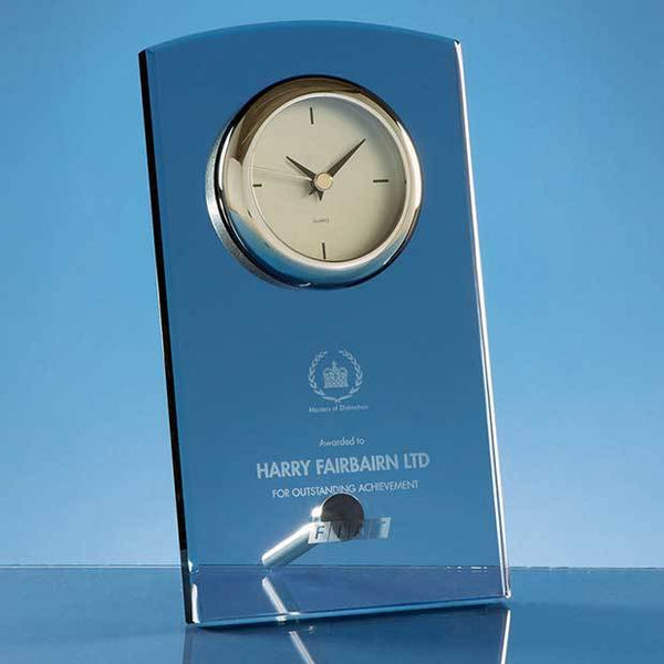 TZ5255P -   20cm Smoked Glass Rectangular Desk Clock - (Fully Engraved)