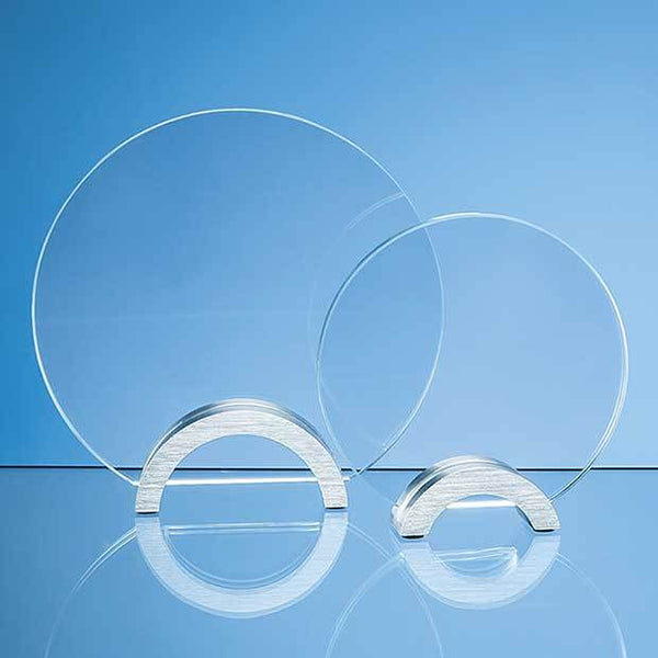 TZ5288P -   14cm x 10mm Clear Glass Circle mounted on an Aluminium Base - (Fully Engraved)
