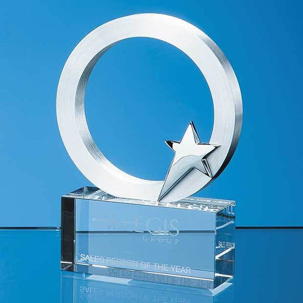 TZ5566P -   10cm Silver Star & Circle on an Optical Crystal Base - (Fully Engraved)