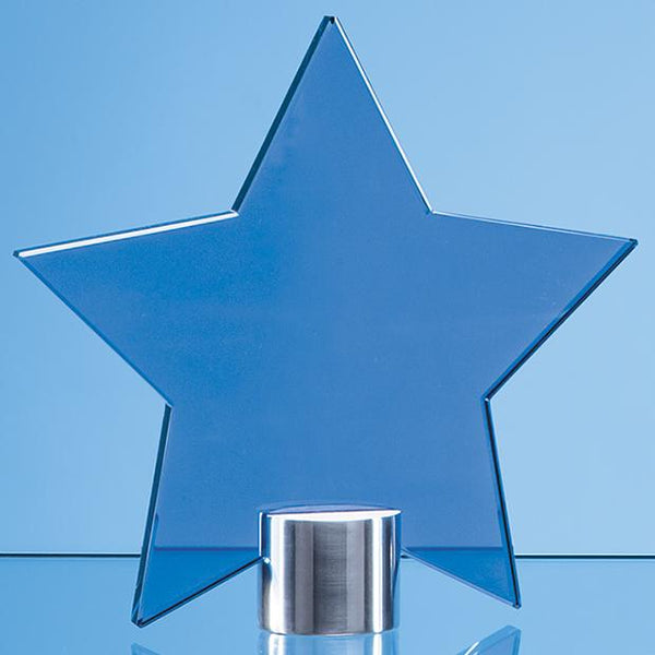TZ5761ACP -   11.5cm Cobalt Blue Glass Star Mounted on a Brushed Aluminium Base - (Fully Engraved)