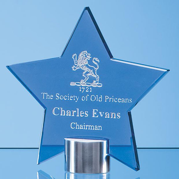 TZ5762ACP -   14cm Cobalt Blue Glass Star Mounted on a Brushed Aluminium Base - (Fully Engraved)
