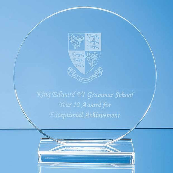 VGC47112P -   15cm x 12mm Clear Glass Circle Award - (Fully Engraved)
