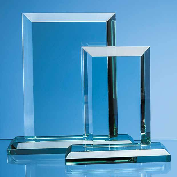 15cm x 10cm x 19mm Jade Glass Mitred Rectangle Award