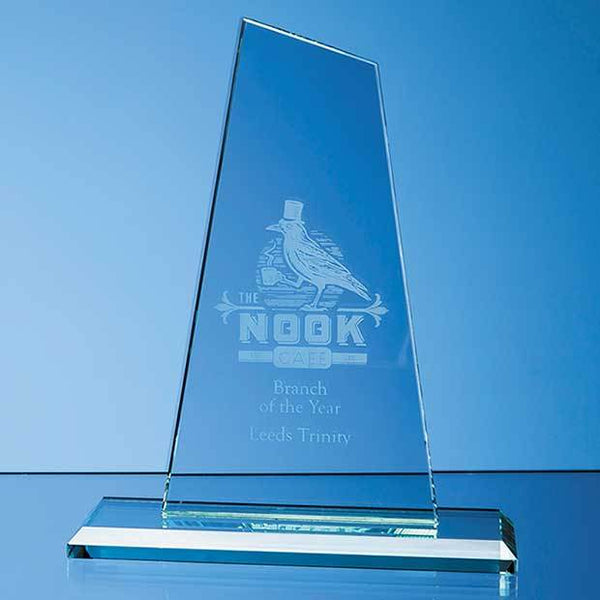 VGJ127112P -   20cm x 11cm x 12mm Jade Glass Mountain Award - (Fully Engraved)