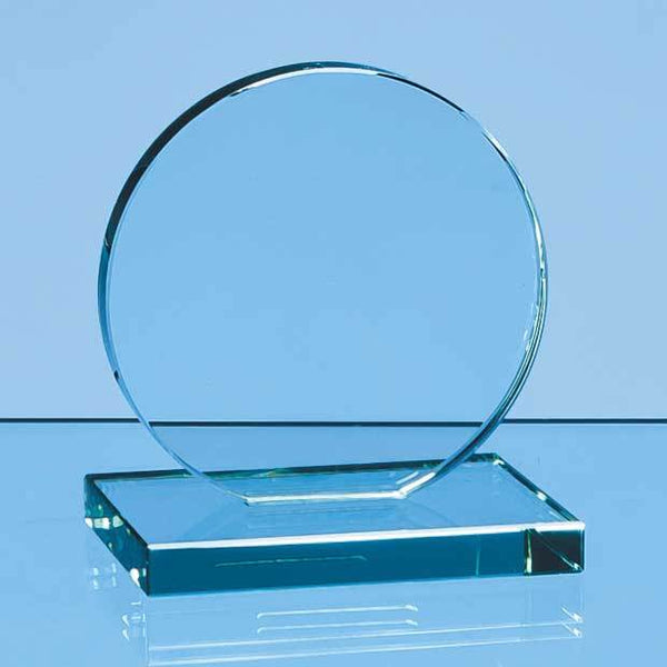 VGJ47012P -   10cm x 12mm Jade Glass Circle Award - (Fully Engraved)