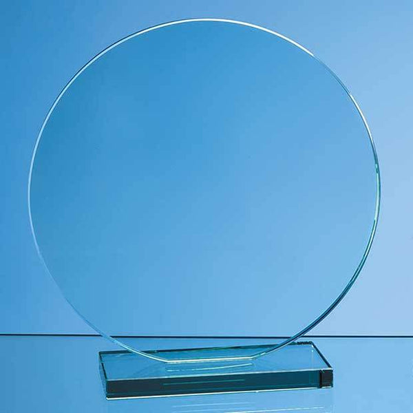 VGJ47212P -   20cm x 12mm Jade Glass Circle Award - (Fully Engraved)
