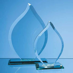 16cm x 11cm x 12mm Jade Glass Flame Award