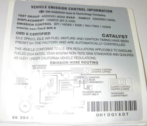 GM 96394228 Genuine GM Parts Emissions Label 2004 Chevrolet Aveo - Lot of 3