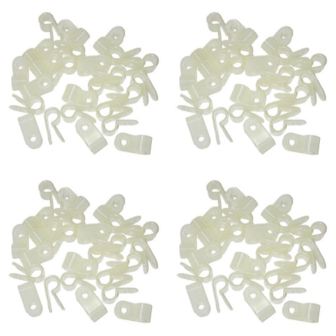 "Parts Master 87130 4 x 25 Pack (100 pcs) 1/4"" 6.35 mm White Nylon Cable Clamps"