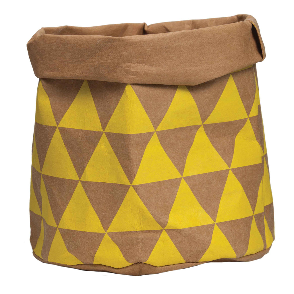 Paper bag yellow - Wash Paperbag Yellow Triangle Large