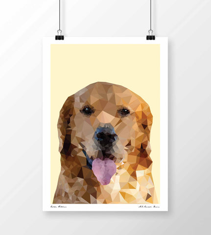 LoCo Graphic Design Print 'Golden Retriever Geo' A4