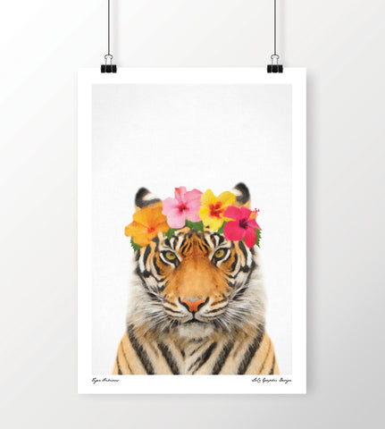 LoCo Graphic Design Print 'Tiger Hibiscus' A4